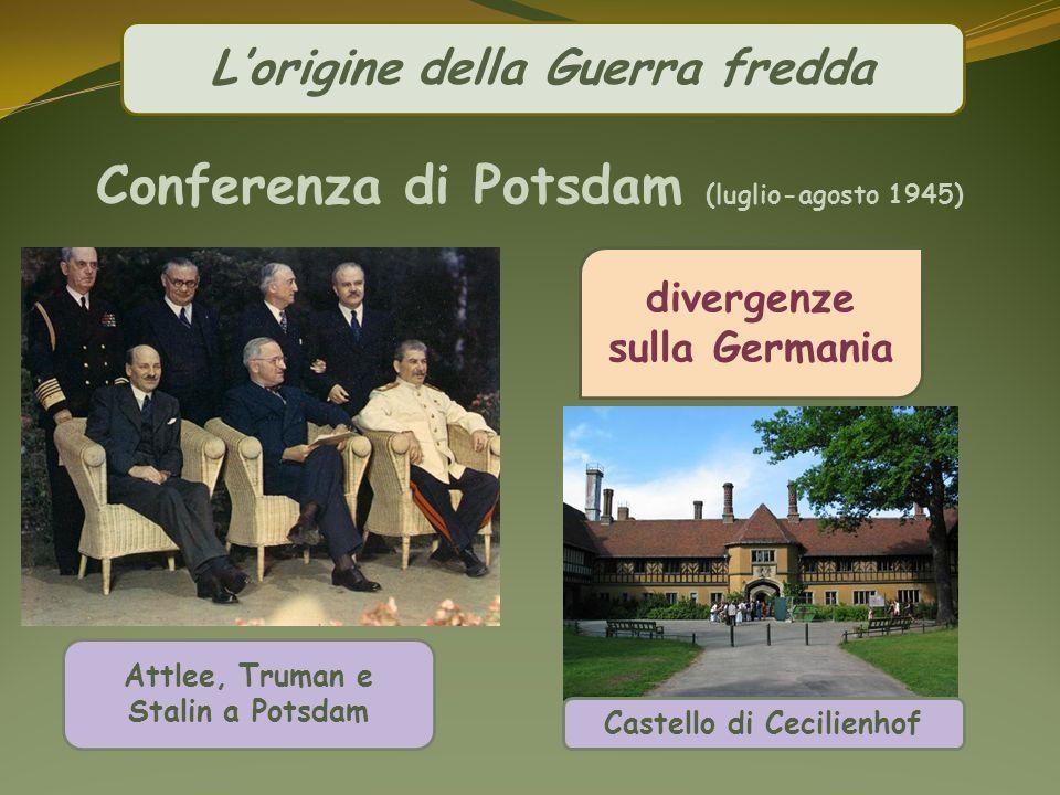 Lorigine della Guerra fredda divergenze sulla Germania Attlee, Truman e Stalin a Potsdam Castello di Cecilienhof Conferenza di Potsdam (luglio-agosto