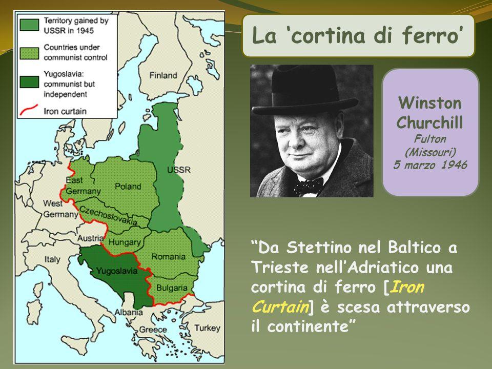 Winston Churchill Fulton (Missouri) 5 marzo 1946 La cortina di ferro Da Stettino nel Baltico a Trieste nellAdriatico una cortina di ferro [Iron Curtai