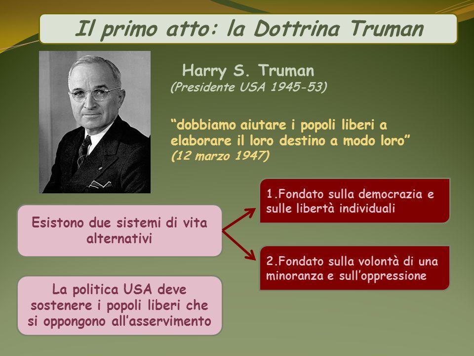 Harry S. Truman (Presidente USA 1945-53) Esistono due sistemi di vita alternativi La politica USA deve sostenere i popoli liberi che si oppongono alla
