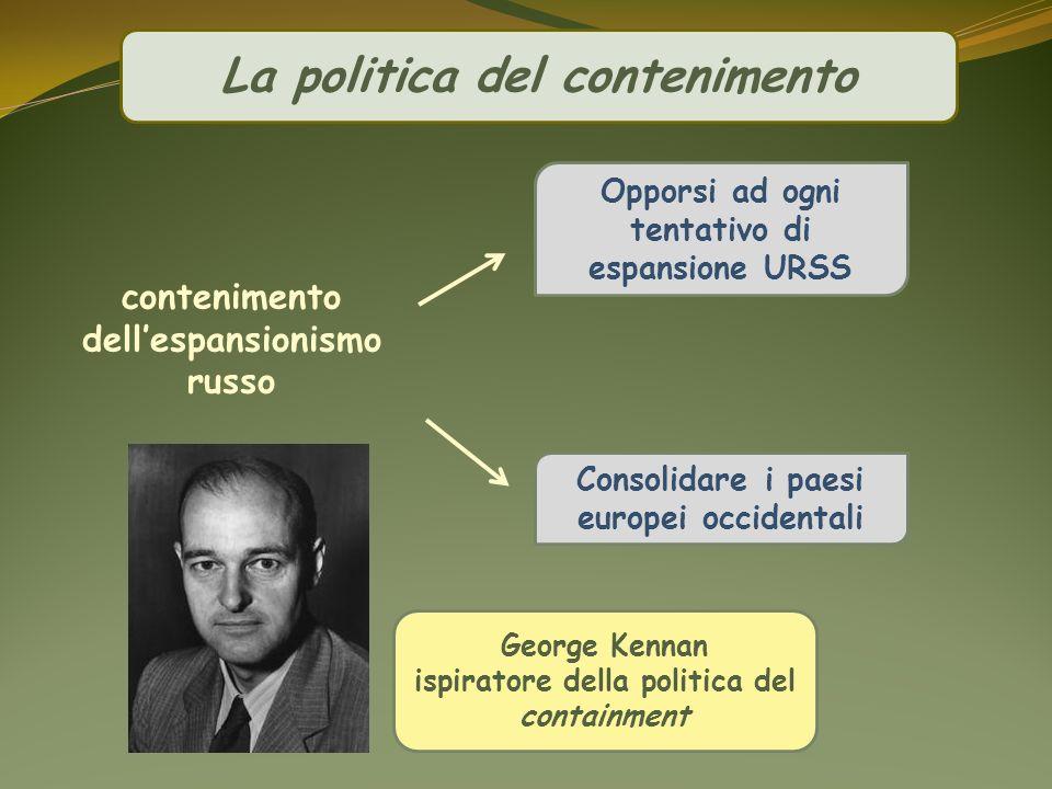 La politica del contenimento contenimento dellespansionismo russo Opporsi ad ogni tentativo di espansione URSS Consolidare i paesi europei occidentali