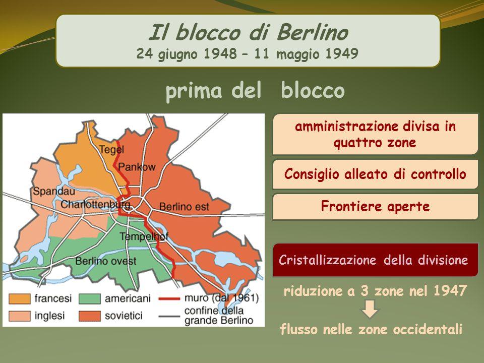 Il blocco di Berlino 24 giugno 1948 – 11 maggio 1949 amministrazione divisa in quattro zone Frontiere aperte riduzione a 3 zone nel 1947 flusso nelle