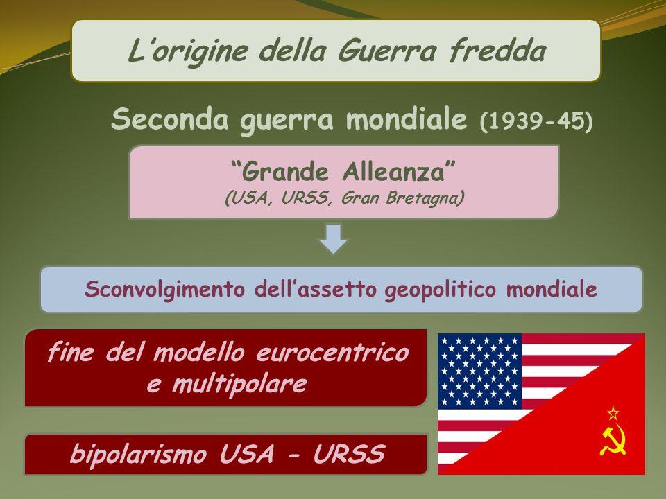 Lorigine della Guerra fredda Grande Alleanza (USA, URSS, Gran Bretagna) Sconvolgimento dellassetto geopolitico mondiale fine del modello eurocentrico