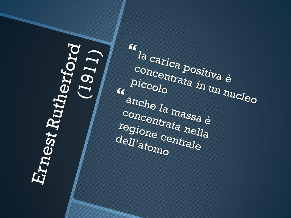la carica positiva è concentrata in un nucleo piccolo la carica positiva è concentrata in un nucleo piccolo anche la massa è concentrata nella regione