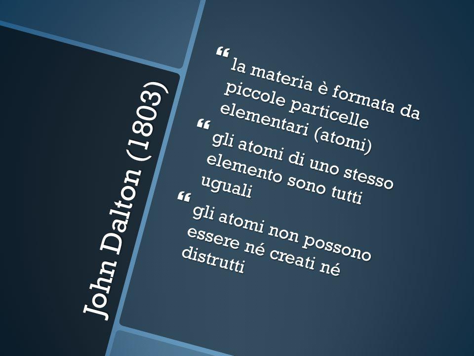 John Dalton (1803) la materia è formata da piccole particelle elementari (atomi) la materia è formata da piccole particelle elementari (atomi) gli ato