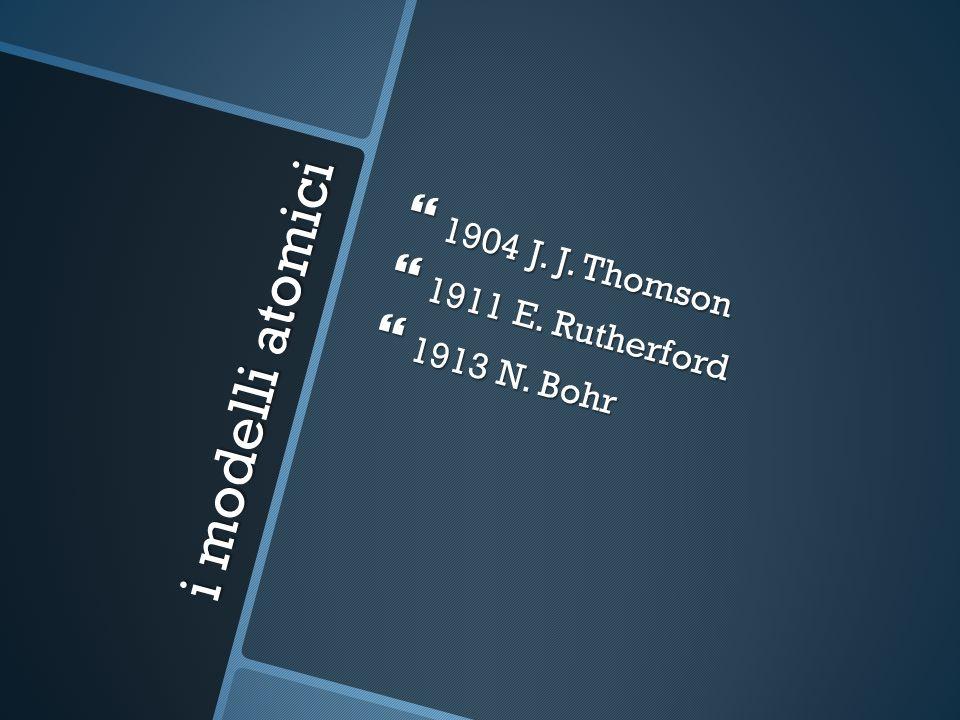 i modelli atomici 1904 J. J. Thomson 1904 J. J.
