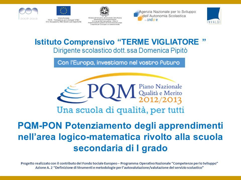 Istituto Comprensivo TERME VIGLIATORE Dirigente scolastico dott.ssa Domenica Pipitò PQM-PON Potenziamento degli apprendimenti nellarea logico-matemati