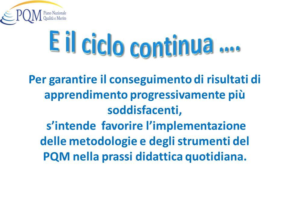 Per garantire il conseguimento di risultati di apprendimento progressivamente più soddisfacenti, sintende favorire limplementazione delle metodologie e degli strumenti del PQM nella prassi didattica quotidiana.