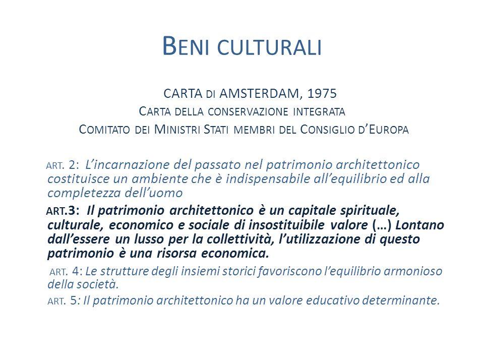 B ENI CULTURALI CARTA DI AMSTERDAM, 1975 C ARTA DELLA CONSERVAZIONE INTEGRATA C OMITATO DEI M INISTRI S TATI MEMBRI DEL C ONSIGLIO D E UROPA ART.