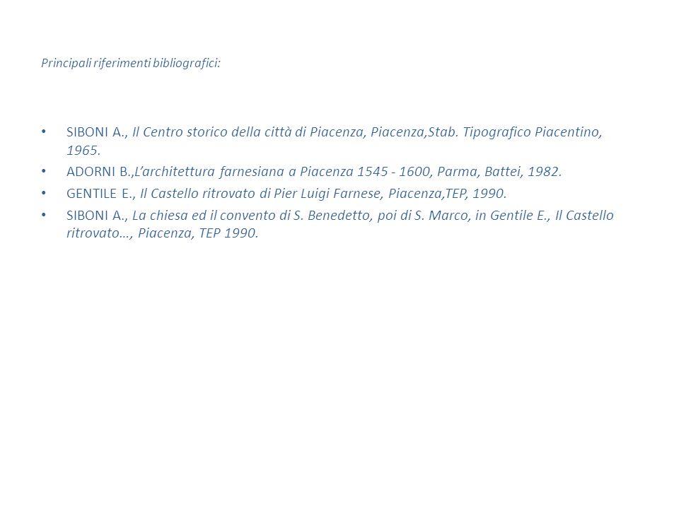 Principali riferimenti bibliografici: SIBONI A., Il Centro storico della città di Piacenza, Piacenza,Stab.