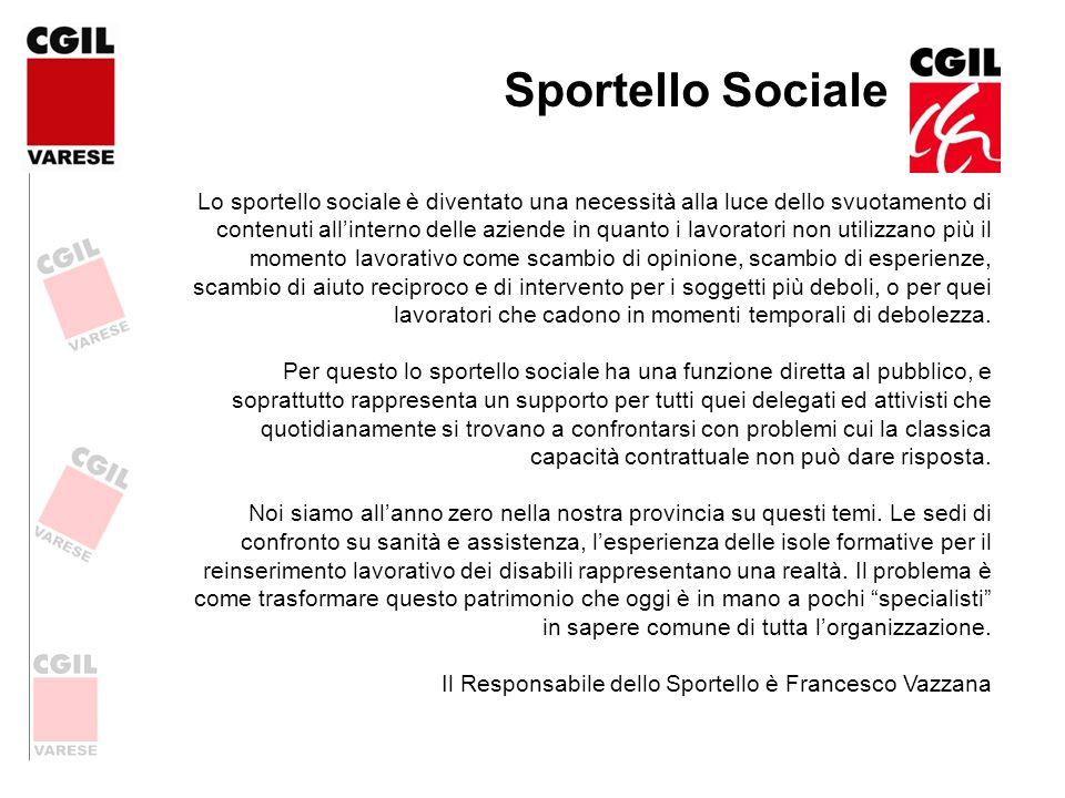 Sportello Sociale Lo sportello sociale è diventato una necessità alla luce dello svuotamento di contenuti allinterno delle aziende in quanto i lavorat