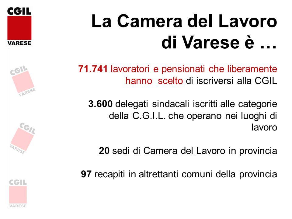 La Camera del Lavoro di Varese è … 71.741 lavoratori e pensionati che liberamente hanno scelto di iscriversi alla CGIL 3.600 delegati sindacali iscrit