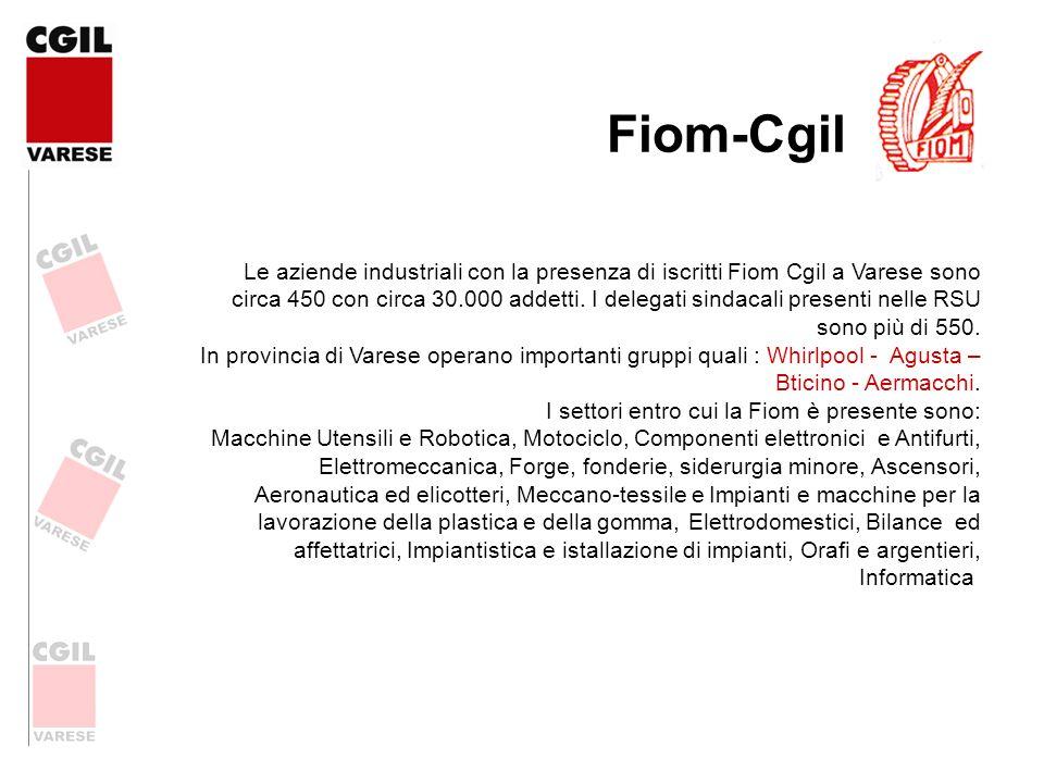 Le aziende industriali con la presenza di iscritti Fiom Cgil a Varese sono circa 450 con circa 30.000 addetti. I delegati sindacali presenti nelle RSU
