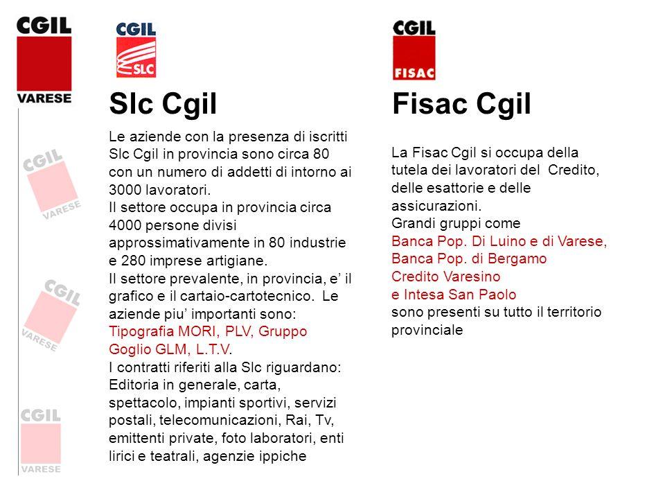 Slc Cgil Le aziende con la presenza di iscritti Slc Cgil in provincia sono circa 80 con un numero di addetti di intorno ai 3000 lavoratori. Il settore