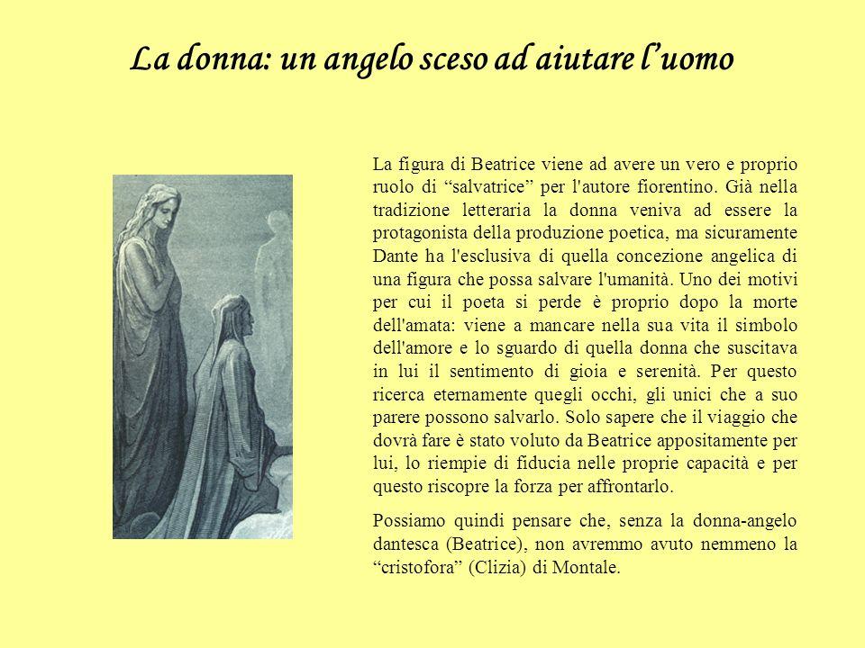 La donna: un angelo sceso ad aiutare luomo La figura di Beatrice viene ad avere un vero e proprio ruolo di salvatrice per l'autore fiorentino. Già nel