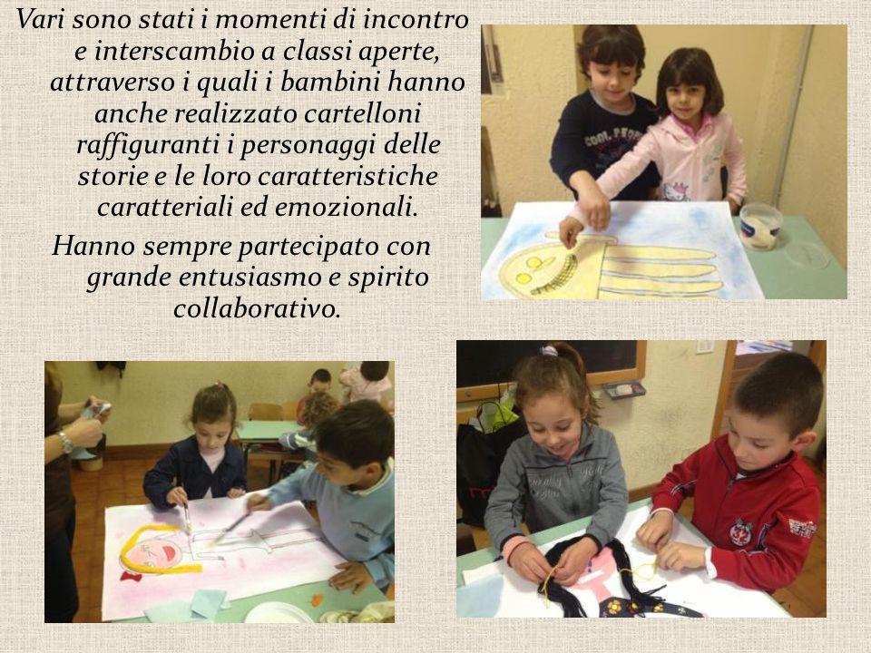 Vari sono stati i momenti di incontro e interscambio a classi aperte, attraverso i quali i bambini hanno anche realizzato cartelloni raffiguranti i personaggi delle storie e le loro caratteristiche caratteriali ed emozionali.