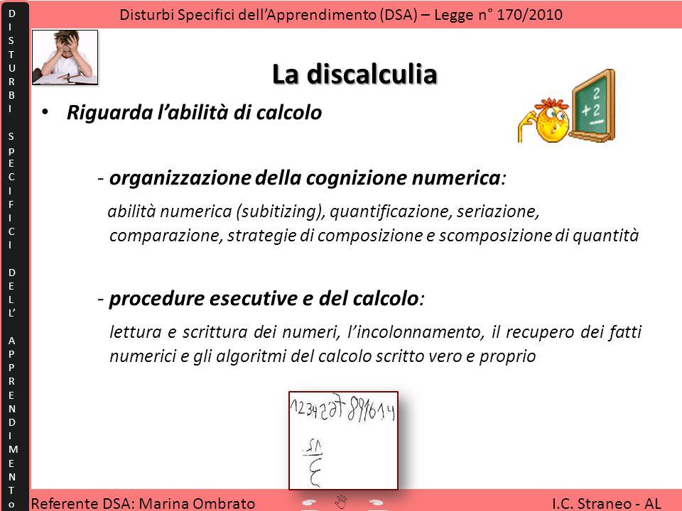 La discalculia Riguarda labilità di calcolo -organizzazione della cognizione numerica: abilità numerica (subitizing), quantificazione, seriazione, com