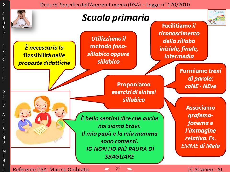 Referente DSA: Marina Ombrato I.C.Straneo - AL Disturbi Specifici dellApprendimento (DSA) – Legge n° 170/2010 Scuola primaria È necessaria la flessibi