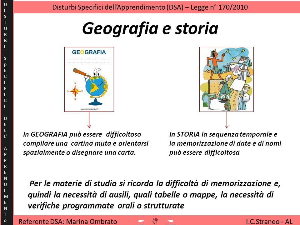 Geografia e storia può essere ascrivibile al disturbo - In LATINO non far leggere ad alta voce, far utilizzare schemi e tabelle (per regole grammatica