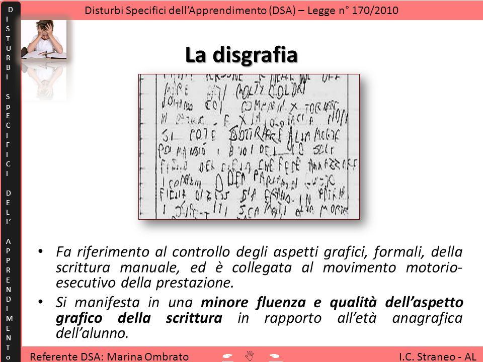 La disgrafia Referente DSA: Marina Ombrato I.C. Straneo - AL Disturbi Specifici dellApprendimento (DSA) – Legge n° 170/2010 D I S T U R B I S p E C I