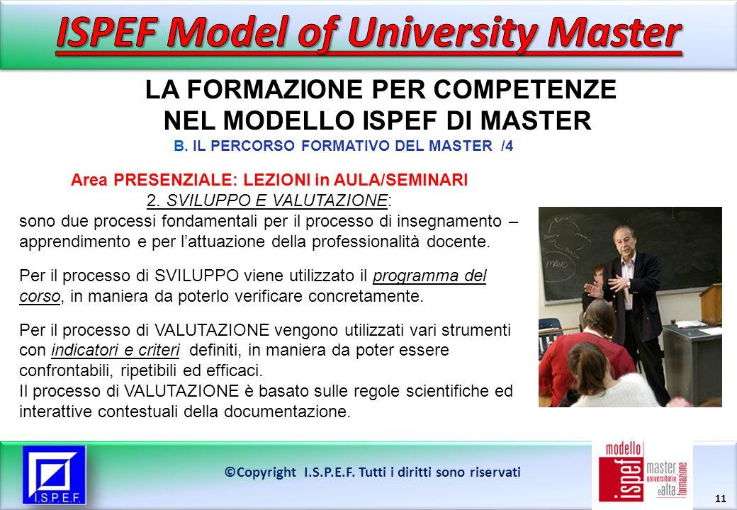 11 LA FORMAZIONE PER COMPETENZE NEL MODELLO ISPEF DI MASTER ©Copyright I.S.P.E.F.