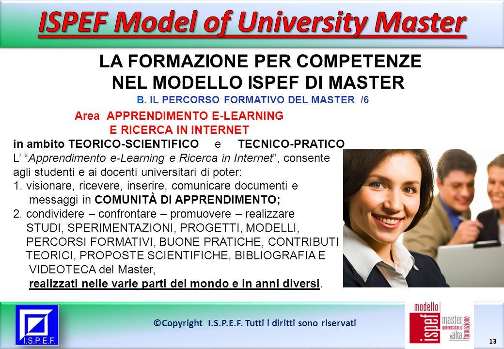 13 LA FORMAZIONE PER COMPETENZE NEL MODELLO ISPEF DI MASTER ©Copyright I.S.P.E.F.