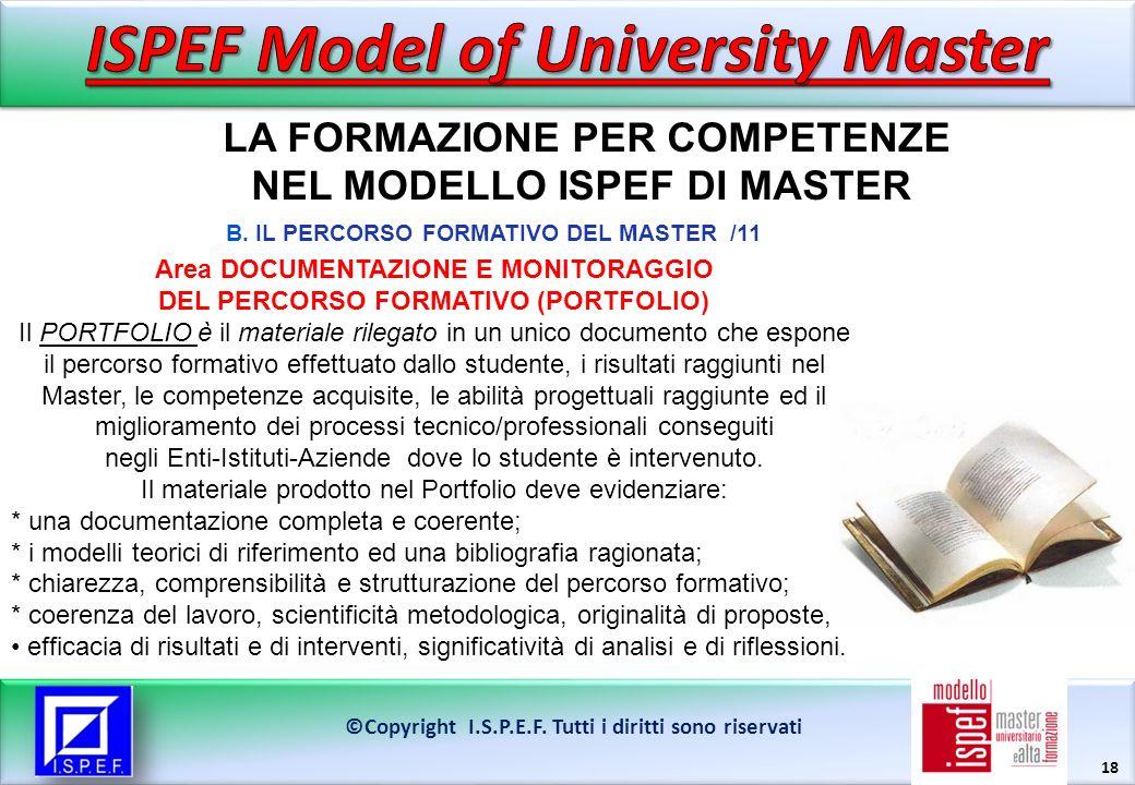 18 LA FORMAZIONE PER COMPETENZE NEL MODELLO ISPEF DI MASTER ©Copyright I.S.P.E.F.