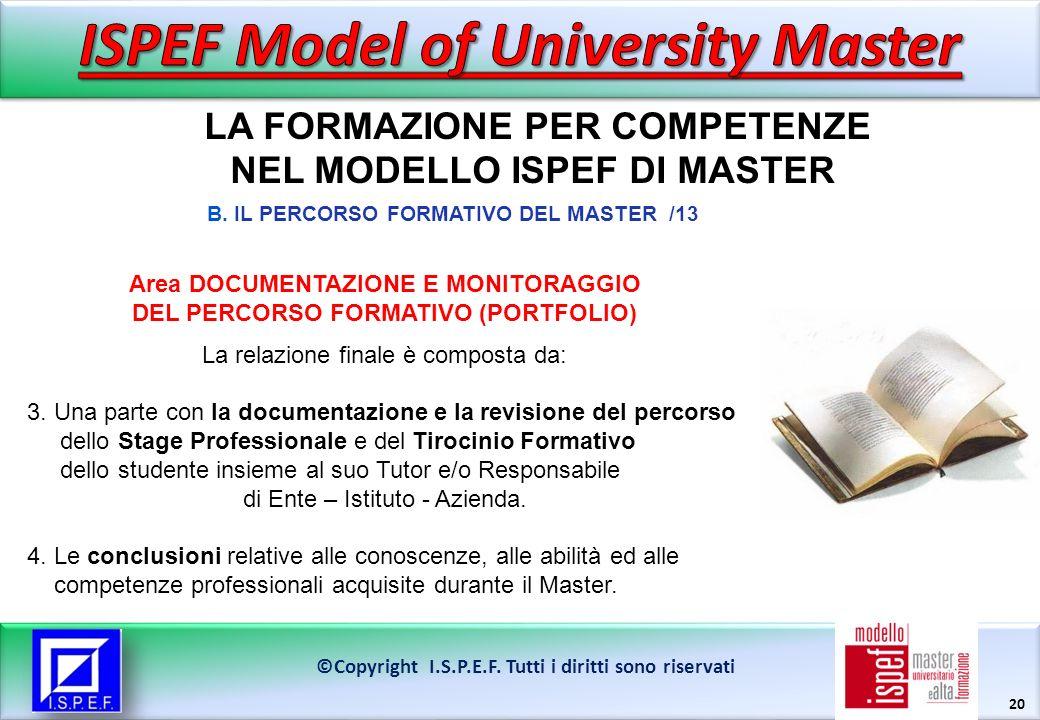 20 LA FORMAZIONE PER COMPETENZE NEL MODELLO ISPEF DI MASTER ©Copyright I.S.P.E.F.
