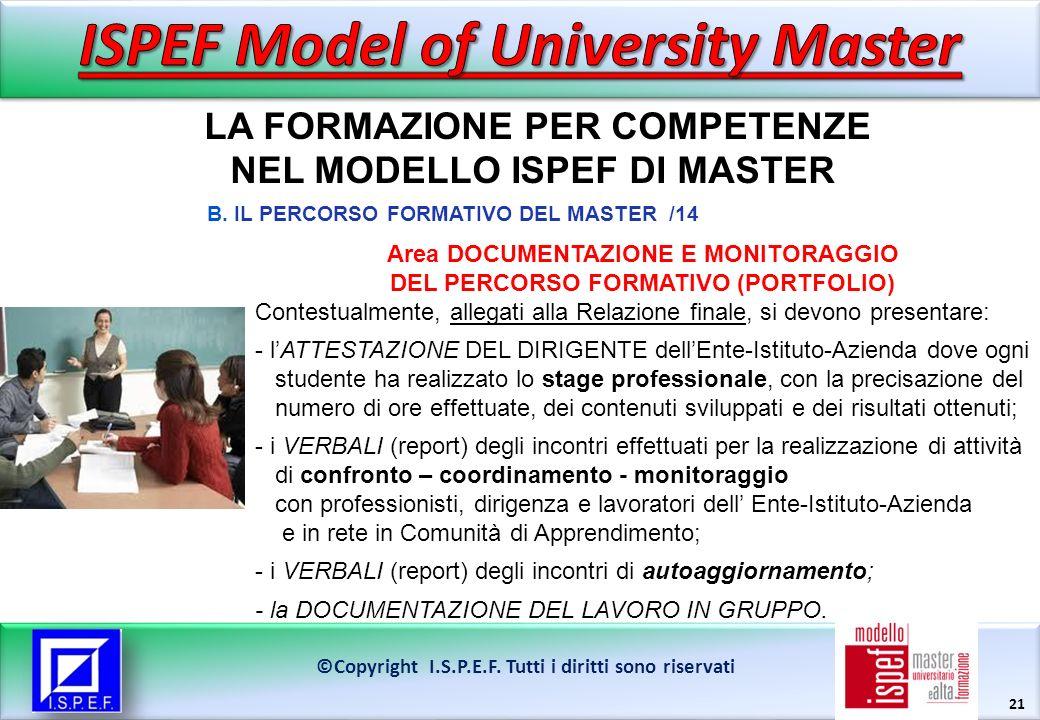 21 LA FORMAZIONE PER COMPETENZE NEL MODELLO ISPEF DI MASTER ©Copyright I.S.P.E.F.
