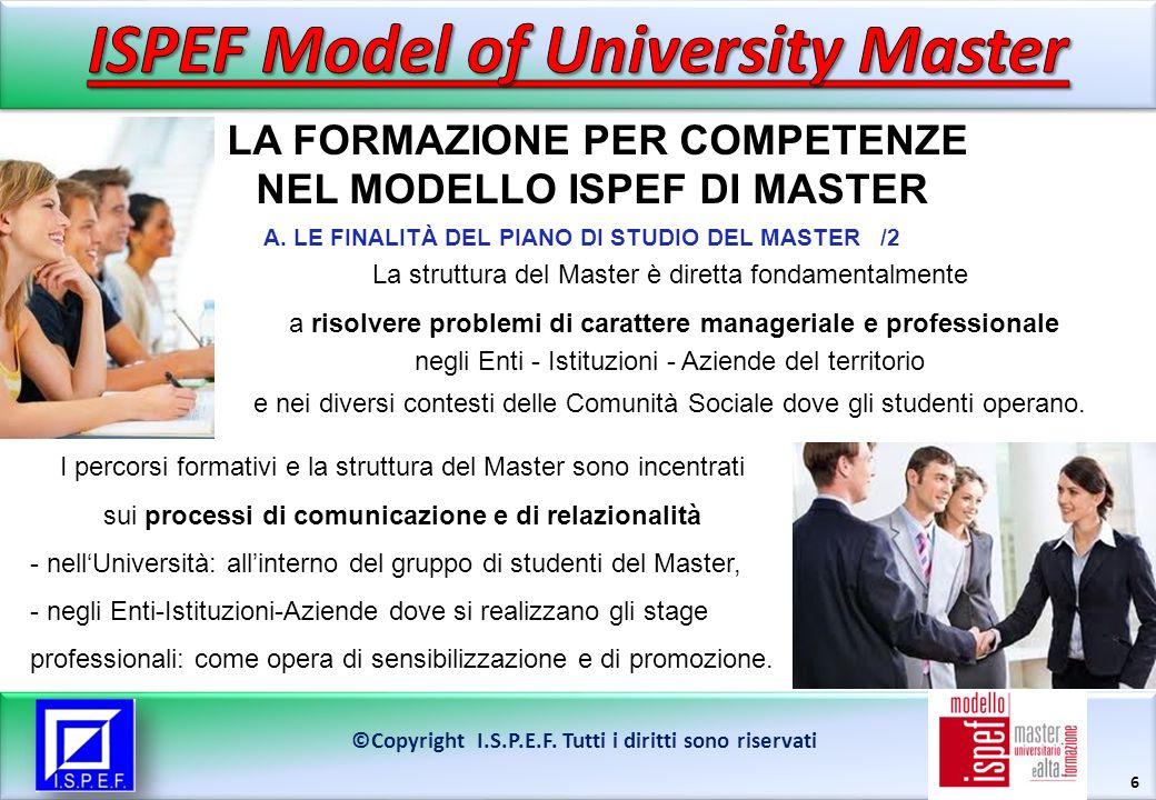 17 LA FORMAZIONE PER COMPETENZE NEL MODELLO ISPEF DI MASTER ©Copyright I.S.P.E.F.