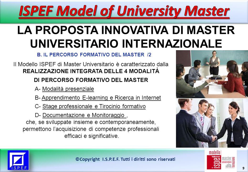 10 LA FORMAZIONE PER COMPETENZE NEL MODELLO ISPEF DI MASTER ©Copyright I.S.P.E.F.