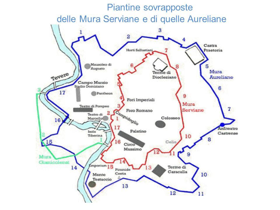 Piantine sovrapposte delle Mura Serviane e di quelle Aureliane