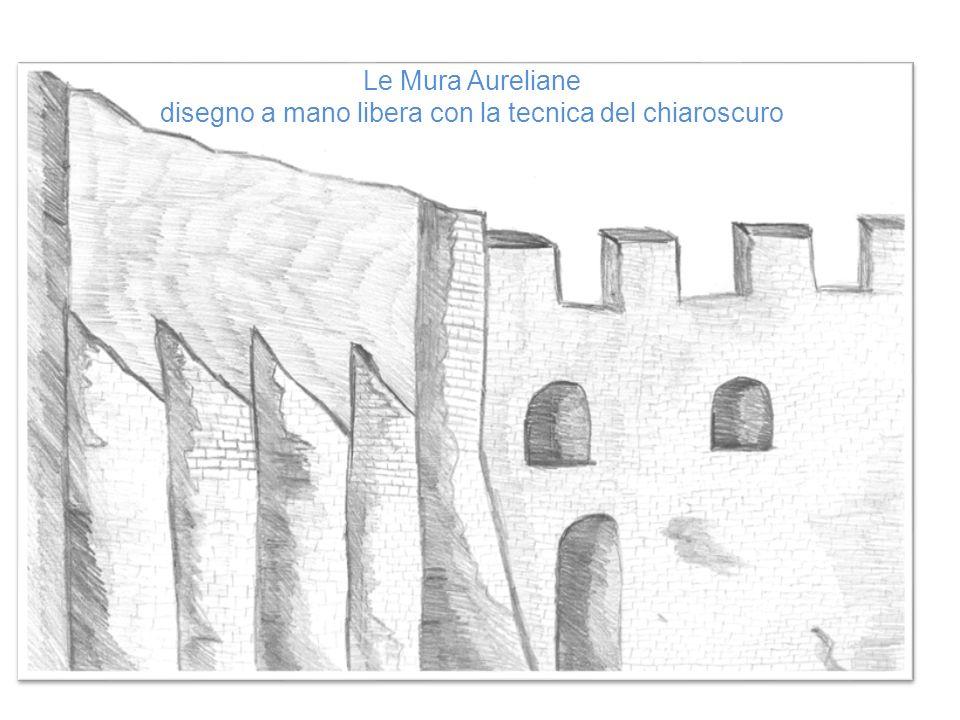 Le Mura Aureliane disegno a mano libera con la tecnica del chiaroscuro
