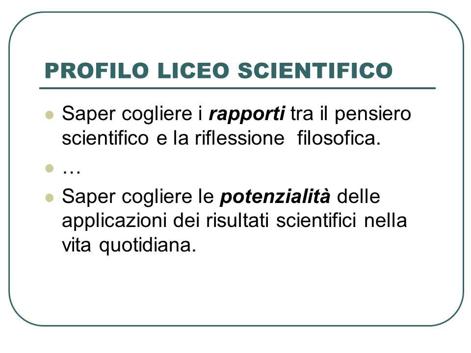 PROFILO LICEO SCIENTIFICO Saper cogliere i rapporti tra il pensiero scientifico e la riflessione filosofica.