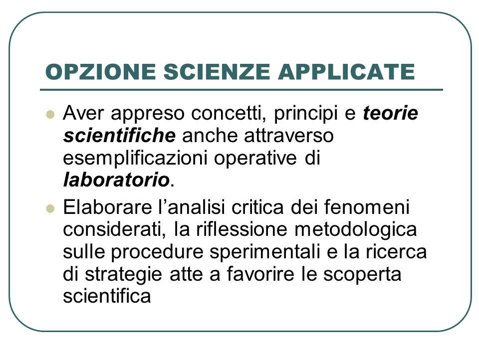 OPZIONE SCIENZE APPLICATE Aver appreso concetti, principi e teorie scientifiche anche attraverso esemplificazioni operative di laboratorio.