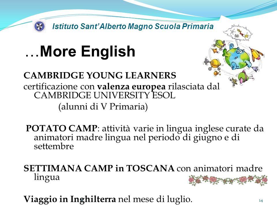 Istituto SantAlberto Magno Scuola Primaria …More English 6 CAMBRIDGE YOUNG LEARNERS certificazione con valenza europea rilasciata dal CAMBRIDGE UNIVER