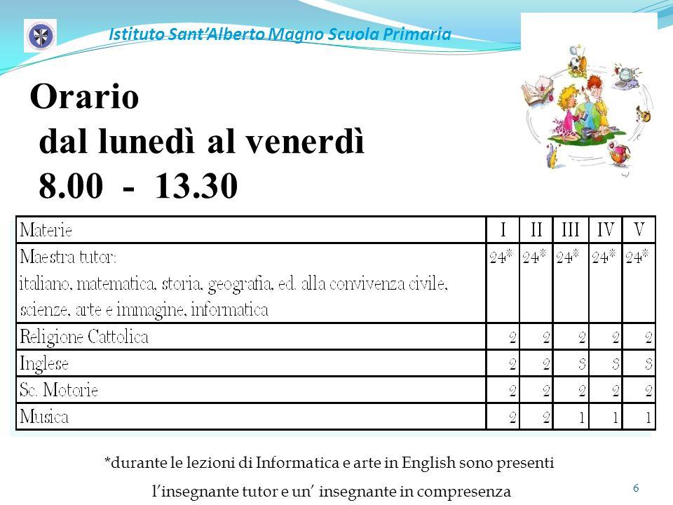 Orario dal lunedì al venerdì 8.00 - 13.30 *durante le lezioni di Informatica e arte in English sono presenti linsegnante tutor e un insegnante in comp