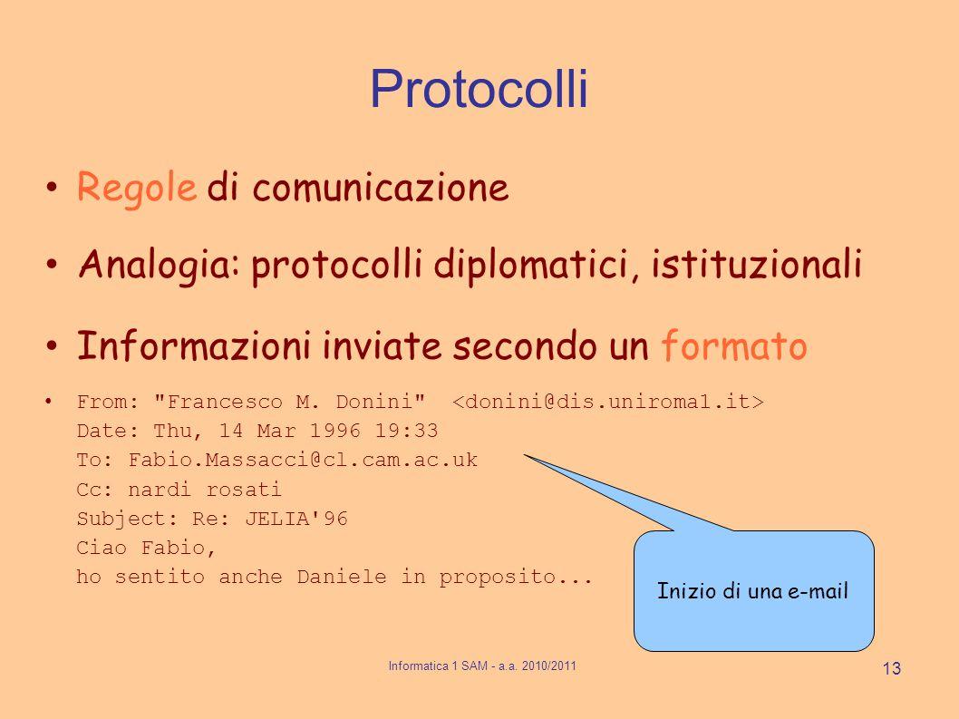 Protocolli Regole di comunicazione Analogia: protocolli diplomatici, istituzionali Informazioni inviate secondo un formato From: Francesco M.