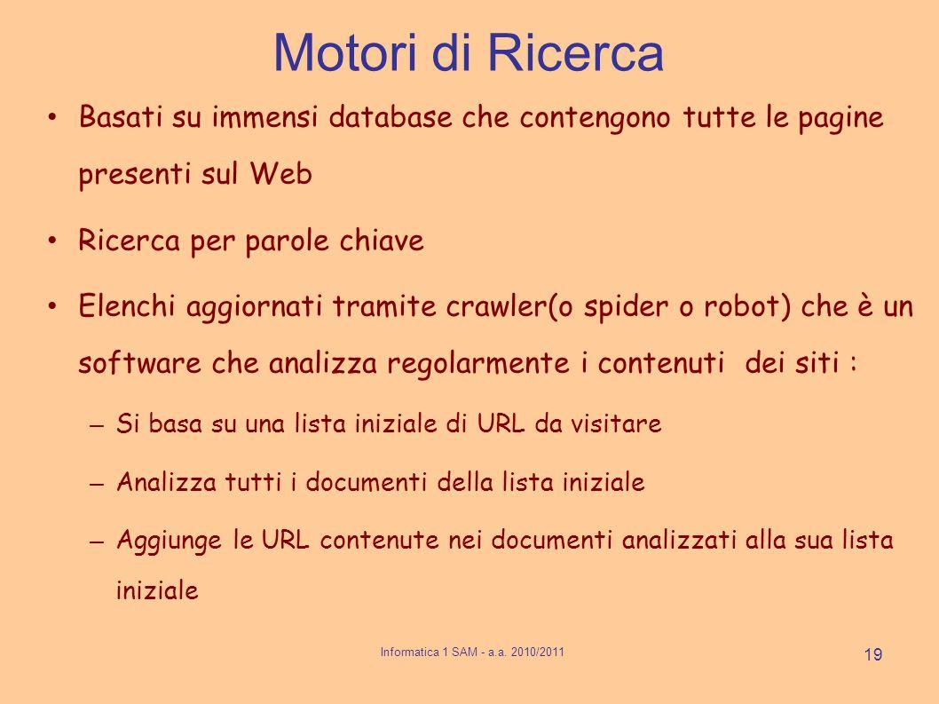 Motori di Ricerca Basati su immensi database che contengono tutte le pagine presenti sul Web Ricerca per parole chiave Elenchi aggiornati tramite craw