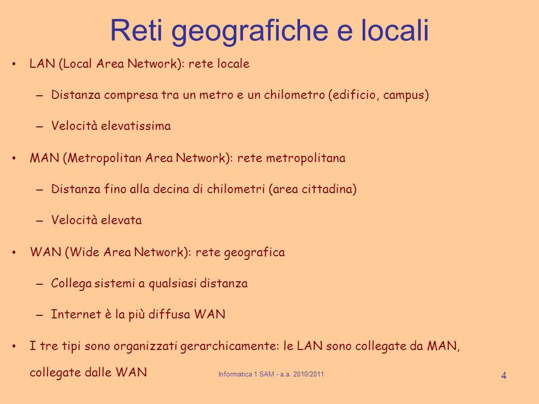 Reti geografiche e locali LAN (Local Area Network): rete locale – Distanza compresa tra un metro e un chilometro (edificio, campus) – Velocità elevatissima MAN (Metropolitan Area Network): rete metropolitana – Distanza fino alla decina di chilometri (area cittadina) – Velocità elevata WAN (Wide Area Network): rete geografica – Collega sistemi a qualsiasi distanza – Internet è la più diffusa WAN I tre tipi sono organizzati gerarchicamente: le LAN sono collegate da MAN, collegate dalle WAN 4 Informatica 1 SAM - a.a.