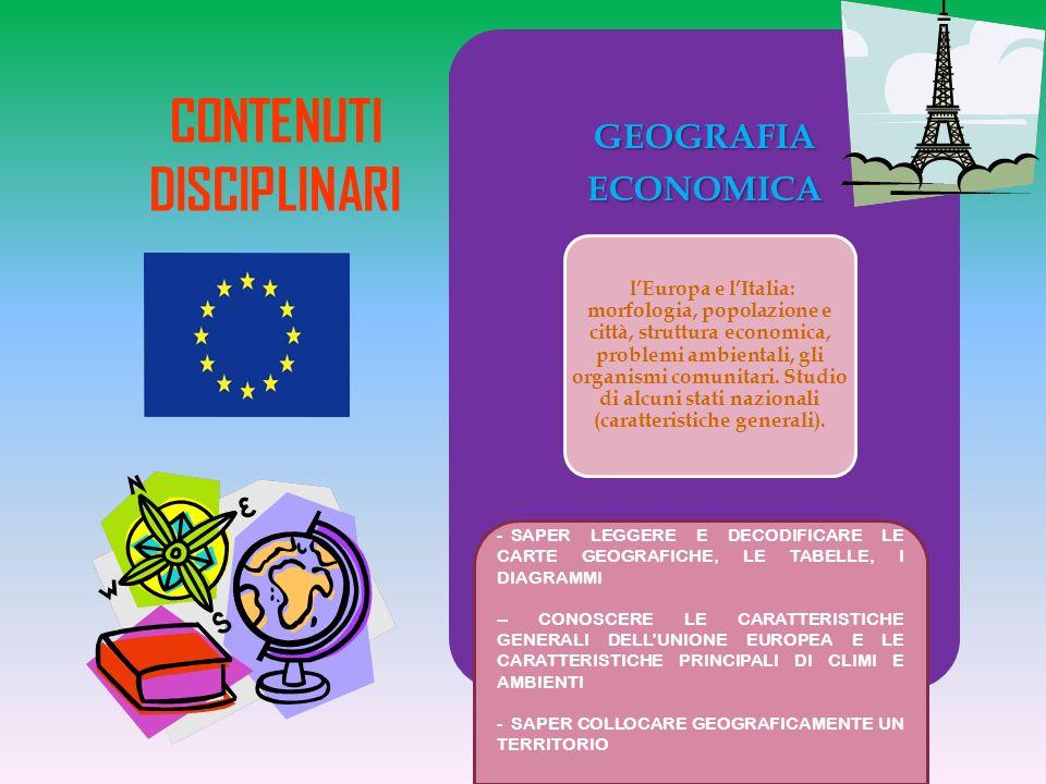 GEOGRAFIAECONOMICA lEuropa e lItalia: morfologia, popolazione e città, struttura economica, problemi ambientali, gli organismi comunitari.