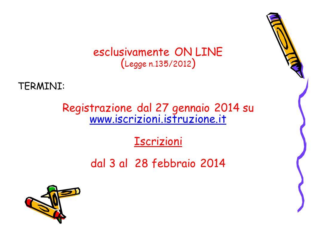 esclusivamente ON LINE ( Legge n.135/2012 ) TERMINI: Registrazione dal 27 gennaio 2014 su www.iscrizioni.istruzione.it www.iscrizioni.istruzione.it Is