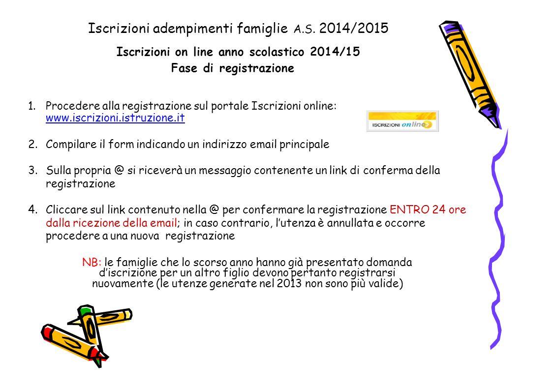 1.Procedere alla registrazione sul portale Iscrizioni online: www.iscrizioni.istruzione.it www.iscrizioni.istruzione.it 2.Compilare il form indicando