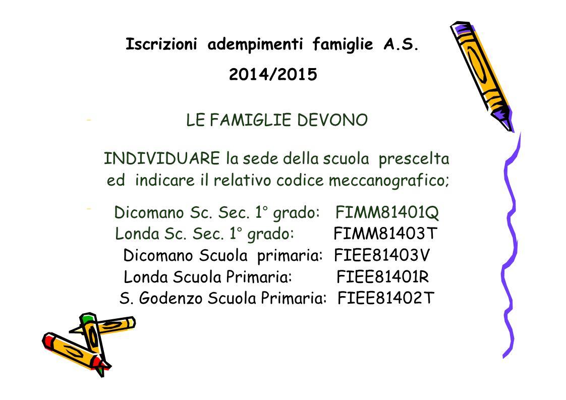Iscrizioni adempimenti famiglie A.S. 2014/2015 LE FAMIGLIE DEVONO – INDIVIDUARE la sede della scuola prescelta ed indicare il relativo codice meccanog