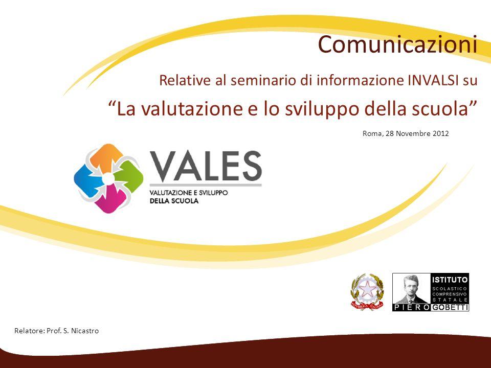 Comunicazioni Relative al seminario di informazione INVALSI su La valutazione e lo sviluppo della scuola Roma, 28 Novembre 2012 Relatore: Prof.
