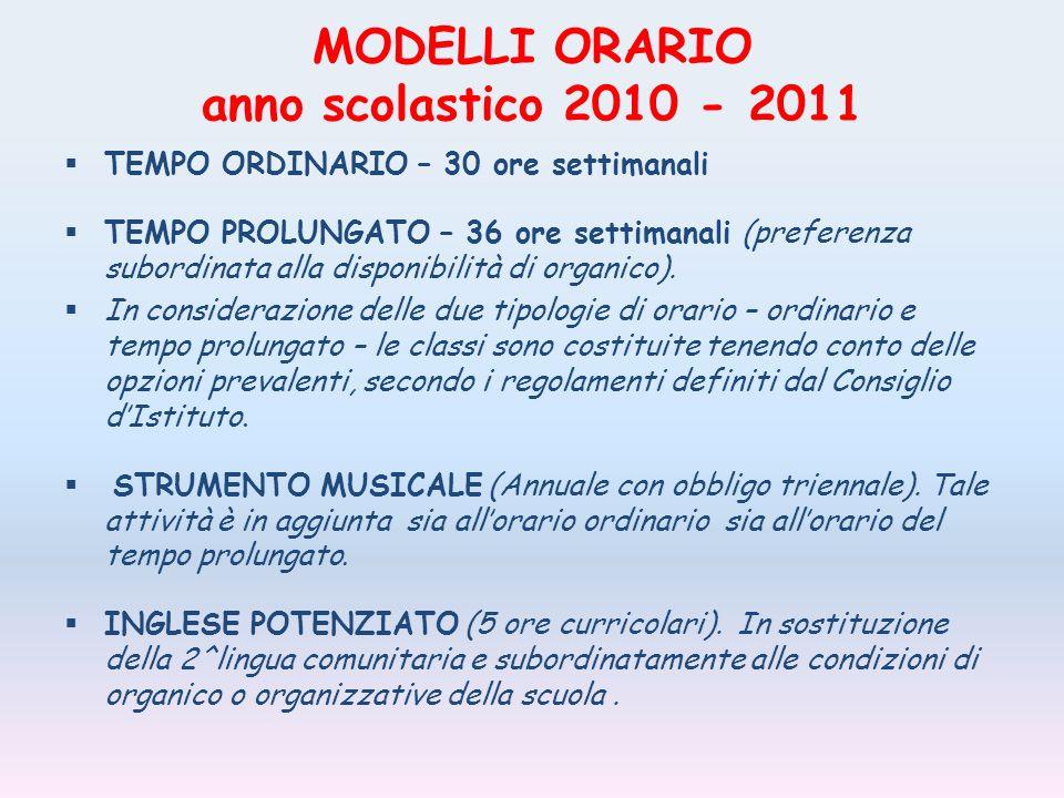 MODELLI ORARIO anno scolastico 2010 - 2011 TEMPO ORDINARIO – 30 ore settimanali TEMPO PROLUNGATO – 36 ore settimanali (preferenza subordinata alla disponibilità di organico).