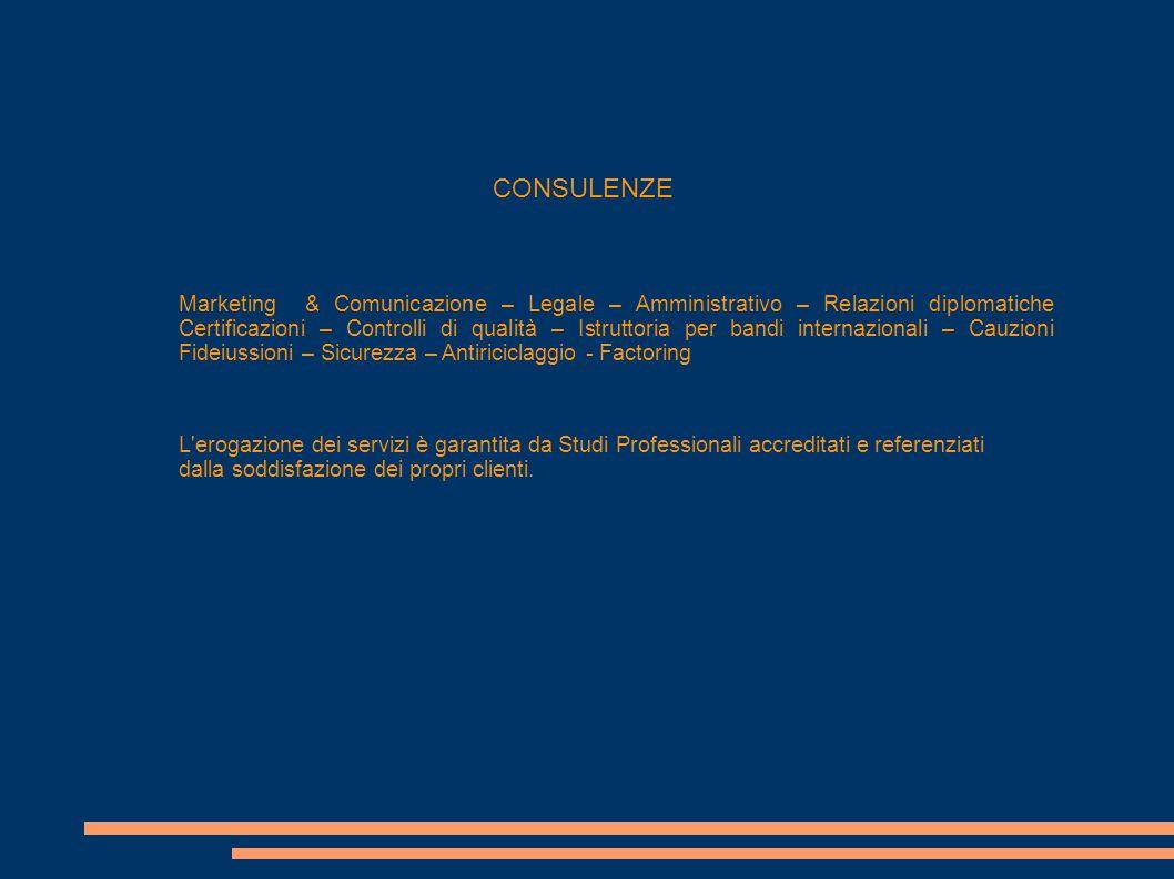 CONSULENZE Marketing & Comunicazione – Legale – Amministrativo – Relazioni diplomatiche Certificazioni – Controlli di qualità – Istruttoria per bandi