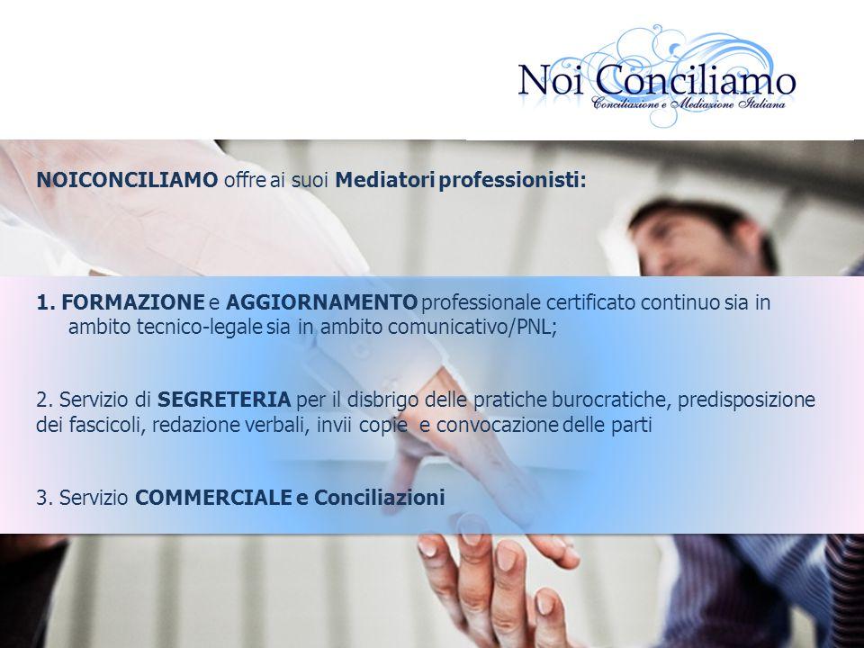 NOICONCILIAMO offre ai suoi Mediatori professionisti: 1. FORMAZIONE e AGGIORNAMENTO professionale certificato continuo sia in ambito tecnico-legale si