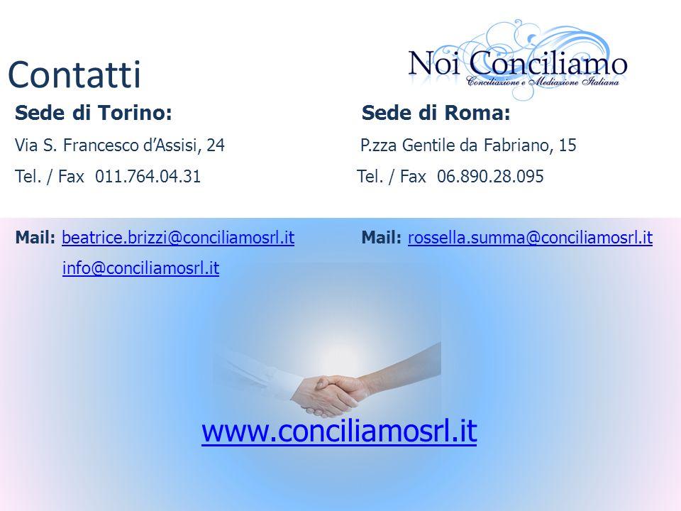 Contatti Sede di Torino: Sede di Roma: Via S. Francesco dAssisi, 24 P.zza Gentile da Fabriano, 15 Tel. / Fax 011.764.04.31 Tel. / Fax 06.890.28.095 Ma