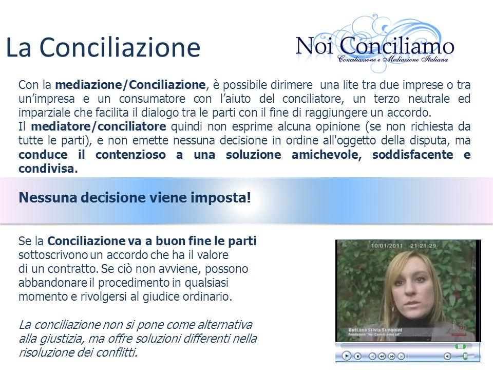 Con la mediazione/Conciliazione, è possibile dirimere una lite tra due imprese o tra unimpresa e un consumatore con laiuto del conciliatore, un terzo