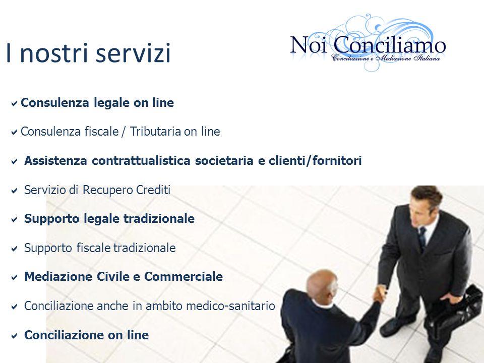 I nostri servizi Consulenza legale on line Consulenza fiscale / Tributaria on line Assistenza contrattualistica societaria e clienti/fornitori Servizi